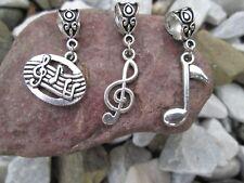 3 pcs - MUSIC, MUSICAL NOTES, CLEFT, CHARMS fits DIY European Style Bracelet
