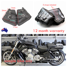 2x black Motorcycle PU Leather Side Saddle Bag Harley Sportster dyna XL883 1200