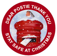 48 Personalised CHRISTMAS THANK YOU POSTIE Stickers 40mm Labels