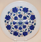 """12"""" White Marble Plate Inlay Real Lapis Rose Inlay Mosaic Beautiful Gifts Decor"""