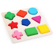 Wooden 9 Shapes Colorful Puzzle Toy Baby Educational Bricks Toy Wood Toys