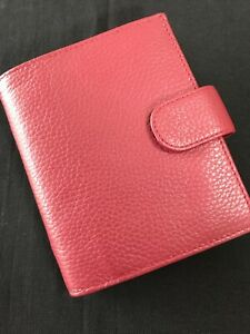 FILOFAX/ORGANISER-RARE POCKET SIZE,SOFT PEBBLED RED LEATHER WITH ROSE INTERIOR