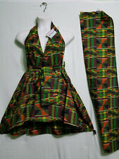 women's Clothing African Kente Print Short Mini Wrap around Derss Free Size