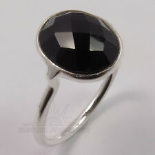 BLACK ONYX Checker Cut Gemstone 925 Solid Sterling Silver Tiny Ring Choose Size