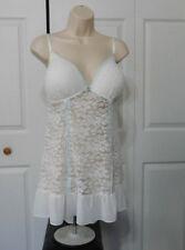 Apt. 9 Women's Plus White Lace Blue Ribbon Padded Chemise & G-String Set Size 1X