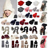 Snow Beanie Pom Pom Hat Womens Thick Warm Cable Knit Scarves and Hats Winter Set