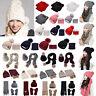 Womens Woollen Knitted Beanie Thicken Hat Scarf Gloves Set Winter Warm Snow Caps