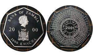1000 Kwacha 2000 Zambia 🇿🇲 Heptagonal Proof Coin / Year Calendar / QUII # 74