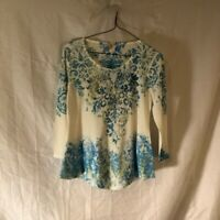 Reba Womens Blouse Multicolor Ivory Floral Long Sleeve Scoop Neck Sequin S New