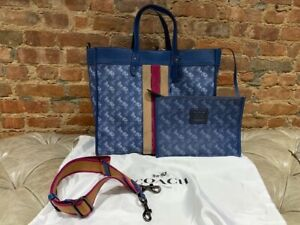 Auth. Coach 89146 Field Tote 40  Horse And Carriage Print And Varsity Stripe Bag