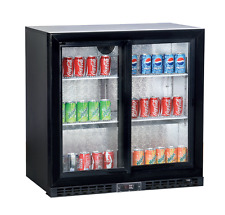 Sliding 2 Door Bottle Cooler Back Bar Chiller Drinks Fridge