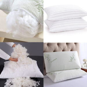 Memory Foam Pillow 2 Pack Firm Duck Feather & Down Hotel Quality Pillowcases New