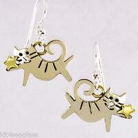 Far Fetched STARLIGHT KITTY Cat EARRINGS Alpaca Silver Mima & Oly + Gift Boxed