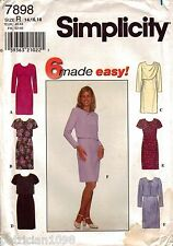 Simplicity 7898 Misses' Semi-Fitted Dress Sizes 14 16 18 Uncut VTNS
