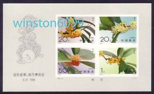 China 1995-19MI Stamp & Coin Expo Flowers Imperf MS MNH