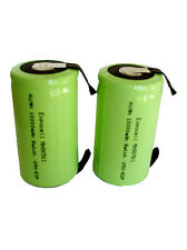 2 x NiMH D 10000 mAh 1.2V Pre Charged Flat Top Rechargeable Battery w/ Tabs 10Ah