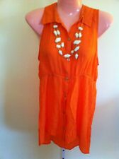 WOMANS ORANGE TOP SIZE LARGE BY HEART SOUL WITH NECKLACE NEW WITH TAGS !