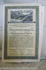 1923 German Walchensee Loan 5000 Mark 7 to 15 % Mittlere Isar Bayernwerk