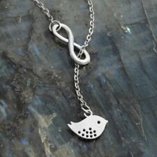 """silver plated Infinity Symbol necklace bird Charm & 20 """" lariat chain"""