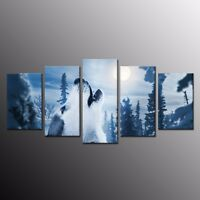 Home Decor Canvas Print Painting Animal Picture Wall Art Wolf Snow Moon 5pcs
