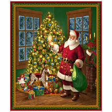 """Quilting Treasures Santa Father Christmas 100 Cotton Fabric 36"""" Quilt Panel"""