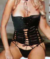 Black Satin Lace Up Bustier with hidden lace bralet & Thong Set Tie Up corset