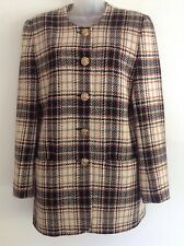 Cache D'or Ladies Long Line Tartan Jacket 100% Lambswool Size 14 Black  Tan