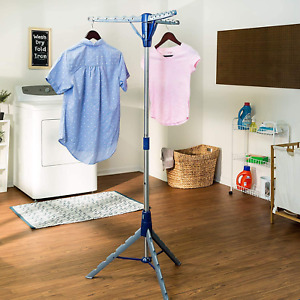 Tripod Clothes Drying Rack Steel Laundry Coat Hanger Foldable Stand Portable