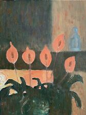 """Original Oil Painting """" Peace Lillies Backlit By Fire'"""