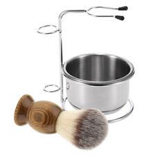 3pcs Natural Wood Men Shaving Brush with Metal Bowl Cup Mug Stand Holder Set