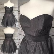 LIPSY Stunning Smoke Grey Strapless Organza Cocktail Party Dress Size 10 UK