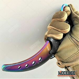 "7.5"" Rainbow Training Knife Fixed Blade Knife STEEL BLADE Karambit Safety Edge"