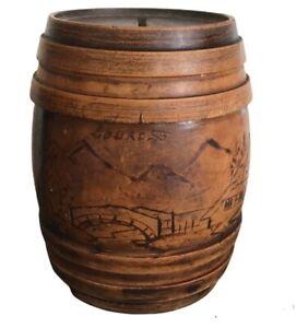 French Wooden Barrel Money Box Lourdes Souvenir Treen Catholic France Vintage