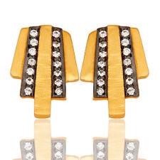 Brass Stud Earrings Cz Gemstone Jewelry 18k Gold Plated Ice Cream Shape Design