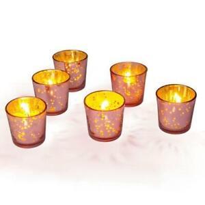 Vintage Mercury Glass Candle Holders (2.5-Inch, Lila Design, Liquid Motif, Ro...