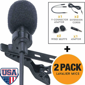 Lavalier Lapel Microphone 2 Pack Complete Set Omnidirectional Mic for Desktop US