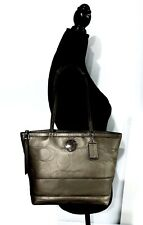 COACH Signature Stitched Outline Bronze Leather Shoulder/Handbag #F19409