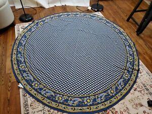 "William Sonoma Marseille Tablecloth 70"" Round Cotton Blue Floral FAST SHIP"
