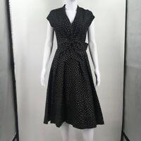 Kate Spade New York Womens A Line Dress Black Polka Dot Stretch Zip Up 2 Small