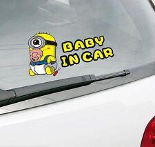 Baby Minion In Car Car Sticker Window Windscreen Bumper Cute Cartoon Auto Decal