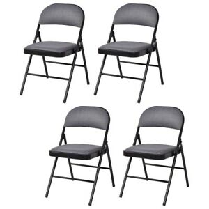 Set of 4 Fabric Upholstered Padded Seat Folding Chairs, Modern Folding Chairs