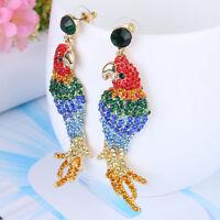 Multicolor Parrot Bird Animal Dangle Earrings Pierced Austrian Crystal Gold Tone