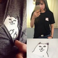 UK Funny Cat Women Casual Top Ladies Solid Color T- Shirt Summer Short Sleeve