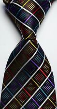 New Classic Pattern Colorful Checks JACQUARD WOVEN Silk Men's Tie Necktie