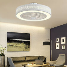 Modern Invisible Ceiling Fan 3-Color LED Light Meeting Room Bedroom Lamp+Remote