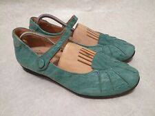 Think! Womens Mary Jane Slip on Shoes Comfortable Green Leather Without heel 40