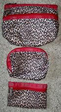 Set of 3 LeSportsac Leopard w/Red Trim Make-up Cosmetics Bags Matching Zippered
