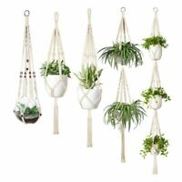 Macrame Plant Hanger Set Of 5 Indoor Wall Hanging Planter Basket Flower Pot Q2C1
