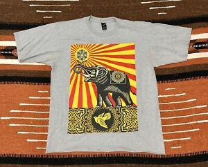 OBEY Graffiti Art Shepard Fairey Elephant Revolution Gray Shirt Size L