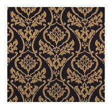 Wallpaper Metallic Gold Damask on Black Background
